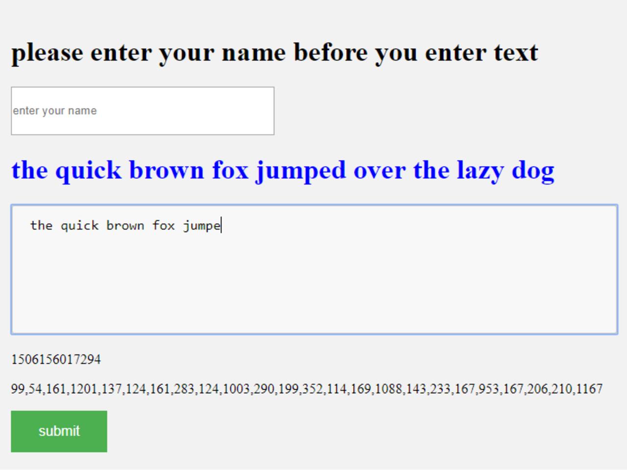 Typing pattern identifier