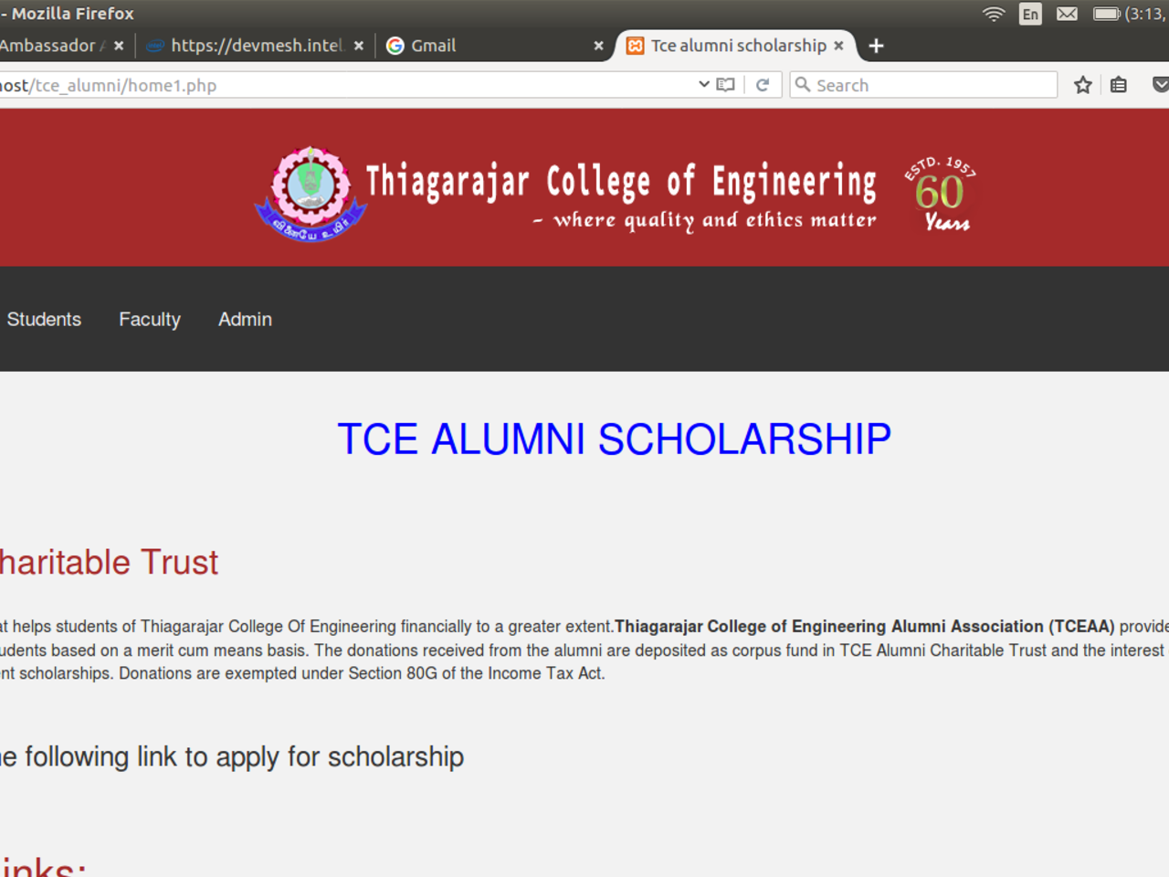 TCE ALUMNI SCHOLARSHIP WEBSITE