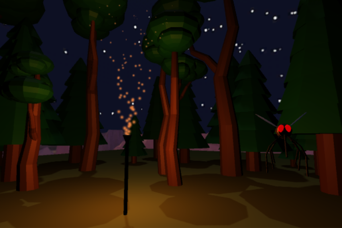 VR Mini-Game - Mosquito Killing  in a Forest