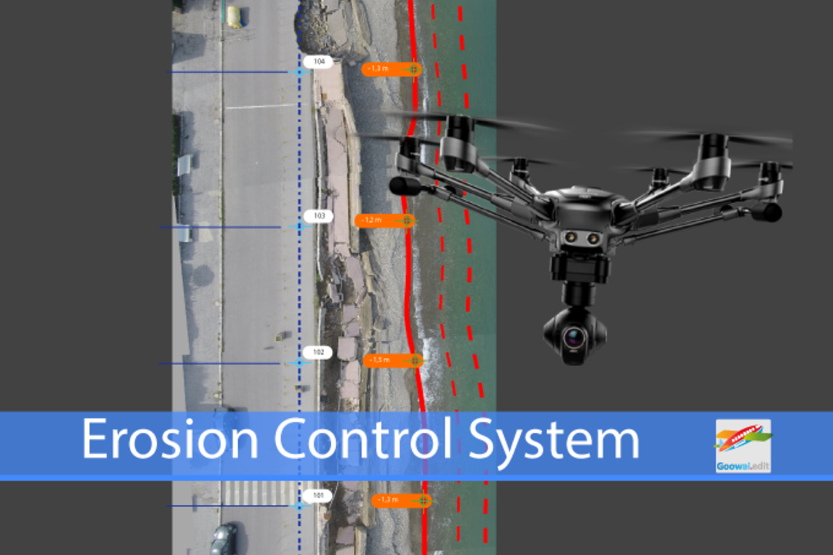 Drone for erosion control of the coasts