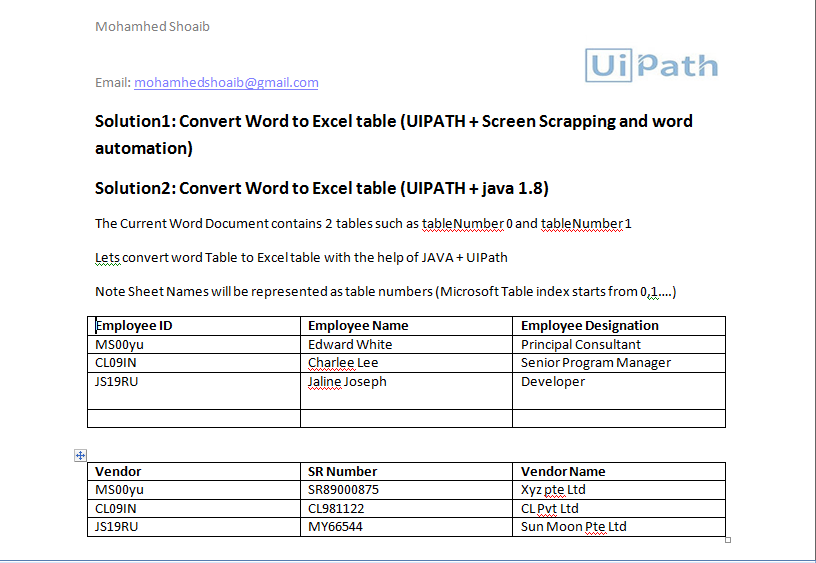 Export Word Table to Excel | UiPath Go!