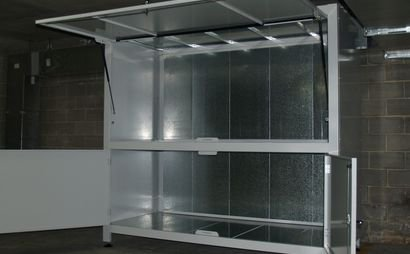 cage storage in a secure and cool area